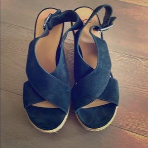 Ugg black suede wedges Size 9.5